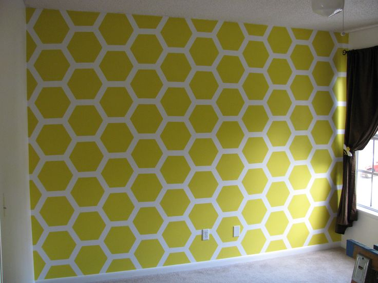 Bumble Bee Nursery - Honeycomb painted wall using a template from cardboard and lots of painters tape!