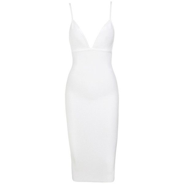 'Wipeout' White Bandage Plunge Neck Dress - Mistress Rocks ($99) ❤ liked on Polyvore featuring dresses, sexy bandage dresses, white dress, white stretch dress, sexy pencil dresses and bandage dress