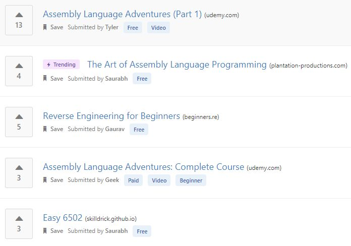 Learn Assembly language online from the best Assembly language tutorials and courses recommended by the programming community.