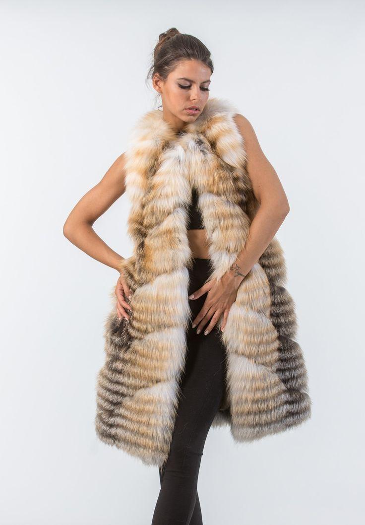 Golden Island Shadow Fox Fur Vest     #fox #fur #vest #real #style #realfur #naturalfur #elegant #haute #luxury#chic #outfit #women #classy #online #store