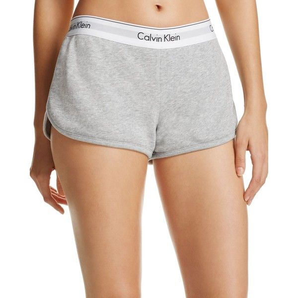Calvin Klein Modern Cotton Lounge Shorts ($40) ❤ liked on Polyvore featuring shorts, grey, calvin klein, cotton shorts and calvin klein shorts