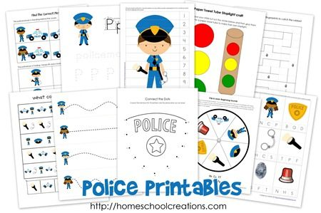Free printables for kindergarten and preschool in a  fun police theme.