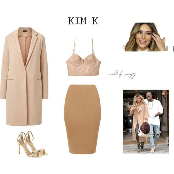 KIM KARDASHIAN OUTFIT STYLE INSPIRATION by ammy-j on Polyvore featuring Alexander Wang, J/Slides and nude