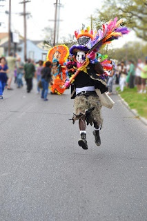 Wild Man clearing a path for the Big Chief, Mardi Gras Indians 2013.