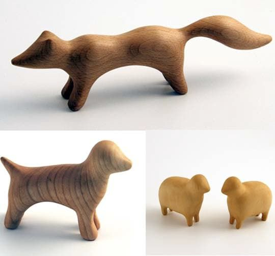 There's something so pure, simple and beautiful about these wooden animal forms. They make us want to get down on the floor and set up a rural habitat for them to live in. Or line them up on a shelf to say goodnight to before bed. Or run our hands over their smooth, polished surfaces to calm ourselves when we're stressed out.