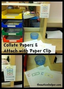 Collate Papers & Attach with Paper Clip {vocational task for children with autism}