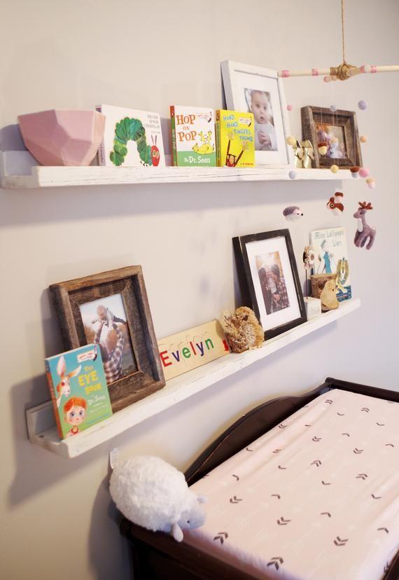 Rustic White Nursery Shelves Reclaimed Wood Baby Room Etsy Nursery Shelves Nursery Wall Shelf Nursery Bookshelf