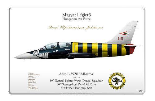 "L-39-Hungary    HUNGARIAN AIR FORCE . MAGYAR LÉGIERÕ  59th Tactical Fighter Wing, 'Dongó' Squadron  59th Szentgyörgyi Dezsö Air Base  Kecskemét, Hungary, 2006    Manufacturer: Aero Vodochody  Model: L-39 Z0 ""Albatros""  Tail Code: 119"