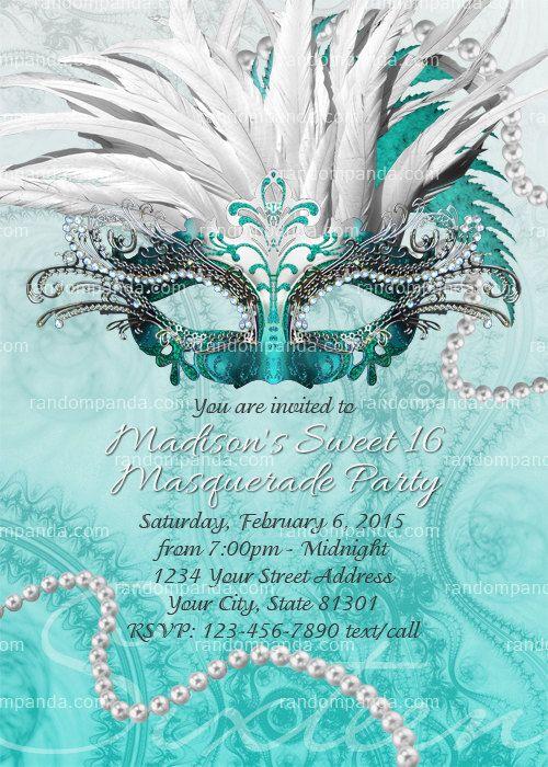 BRICOLAJE Masquerade Ball invitación, fiesta de los dulces 16, Masquerade invitar, Teal