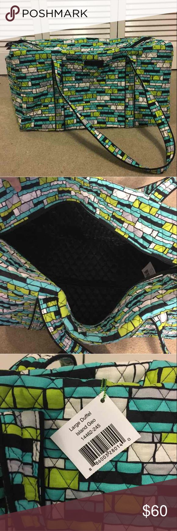 """Vera Bradley Large Duffel Vera Bradley Large Duffel in Island Geo -Original price: $85 -New with tags, never been used -Exclusive pattern  -Outside end pocket -Dimensions: 2"""" W x 11½"""" H x 11½"""" D - 15"""" strap drop Vera Bradley Bags Travel Bags"""