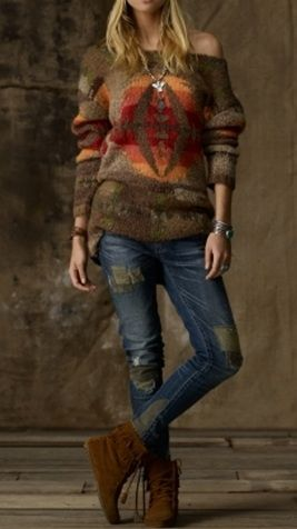 An off the shoulder sweater makes no sense to me (brrr!), but I do like the pattern--reminds me of a Pendleton blanket.
