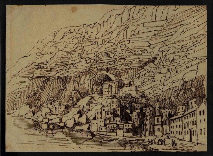 By Mendelssohn. Landscape of the cliffs at Amalfi.