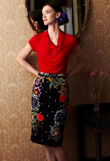Love that the floral only goes up the sides of this skirt