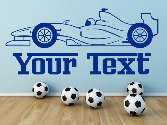 F1 Racewagen en persoonlijke tekst/naam. Muur vinyl sticker