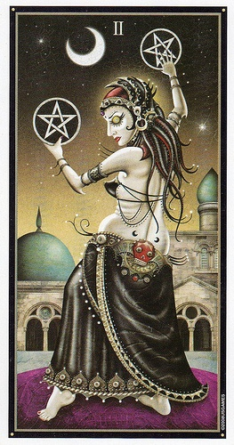 Deviant Moon Tarot- Two of Pentacles    https://www.facebook.com/78Whispers