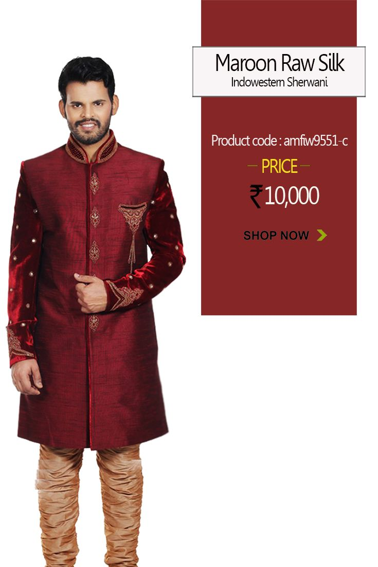 #Maroon Raw Silk #Indowestern #Sherwani make the look more appealing and give a #royal touch to the whole #attire and showcase the elegance and #attitude in you. #menswear #stylish #fashion #designersherwani #shopping #style #mensweddingwear #weddingwear #groomfashion