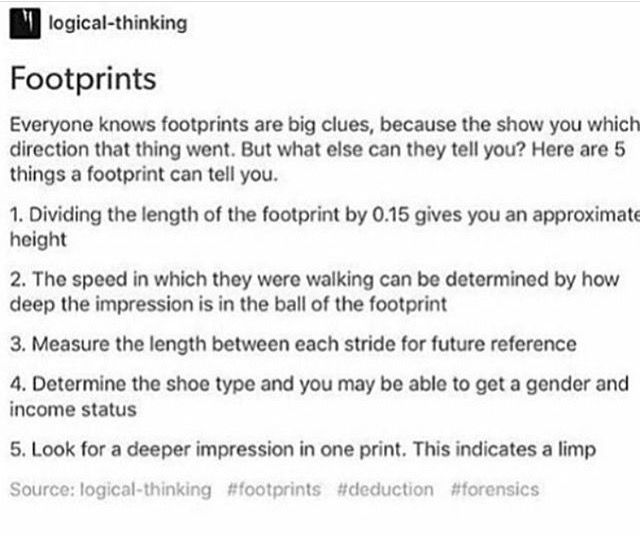 footprint analysis! <<< wow this is good. I dunno what I might use it for since I'm probably not gonna be a police, but I'm saving it