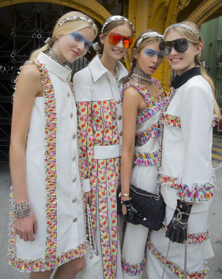 Backstage with the models at Chanel
