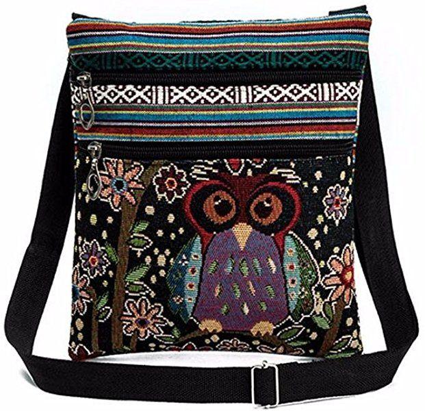 Women/'s Satchel Shoulder Bag Tote Messenger Cross Body Canvas Owl Handbag Ladies