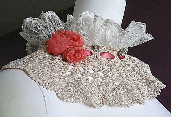Vintage Lace Crocheted Collar Handmade by FearlessFiberworks