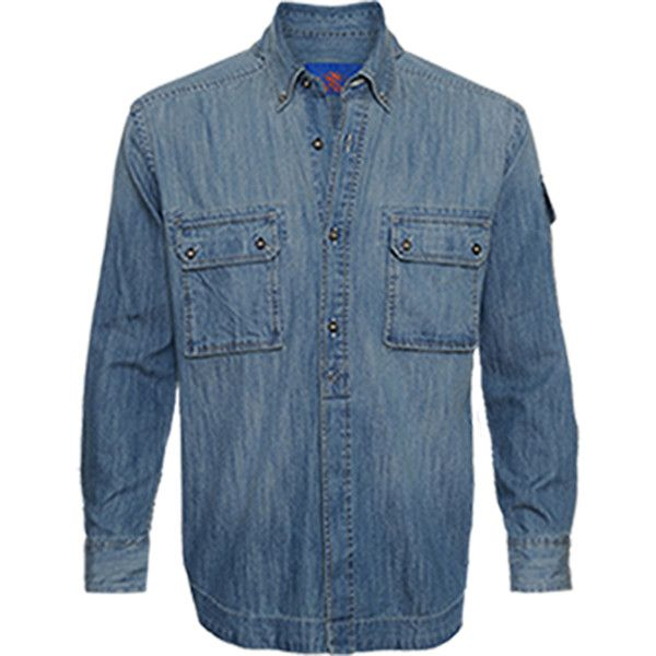 Survivalon Washed Denim Utility Shirt (387312301) ($145) ❤ liked on Polyvore featuring men's fashion, men's clothing, men's shirts, men's casual shirts, medium indigo, mens long sleeve casual shirts, mens long sleeve work shirts, mens work shirts, mens short sleeve denim shirt and mens denim shirt