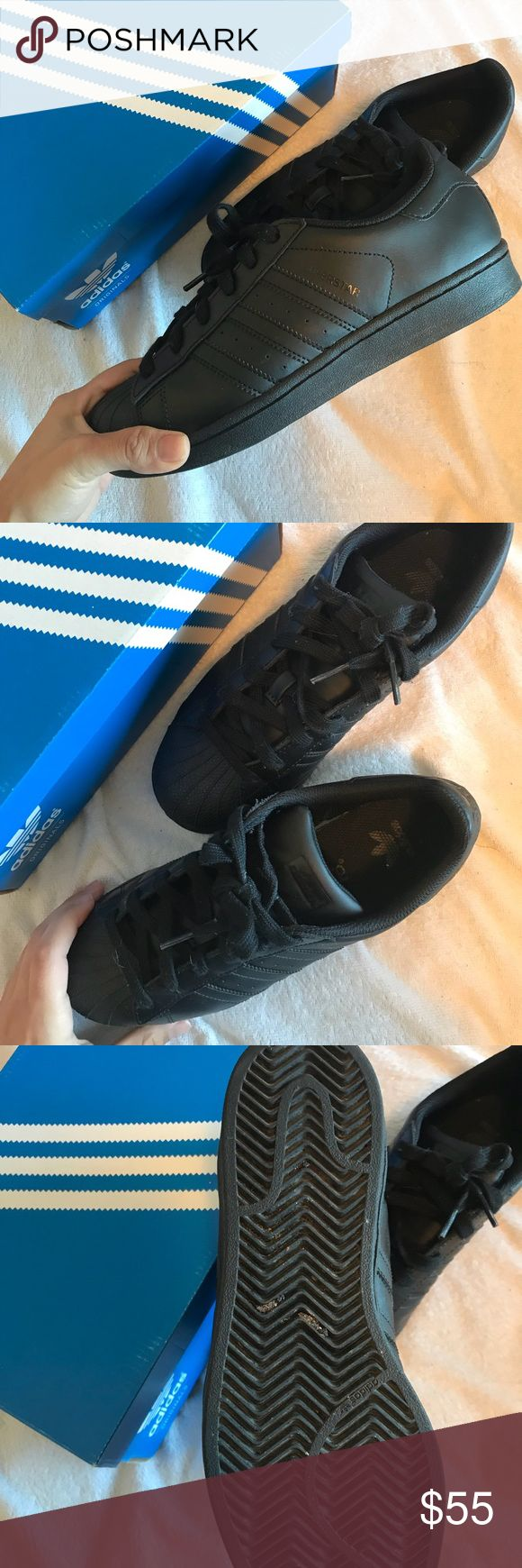 all black adidas superstars Fit size 7.5 in womens ! but they are a size in youth  Come in the box! Worn about 4 times  Minimal creasing  not super dirty Open to offers ! adidas Shoes Sneakers