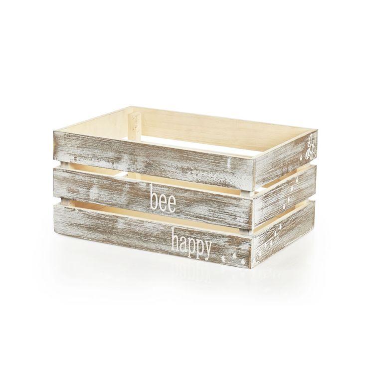 Wilko Bee Happy Wooden Crate at wilko.com