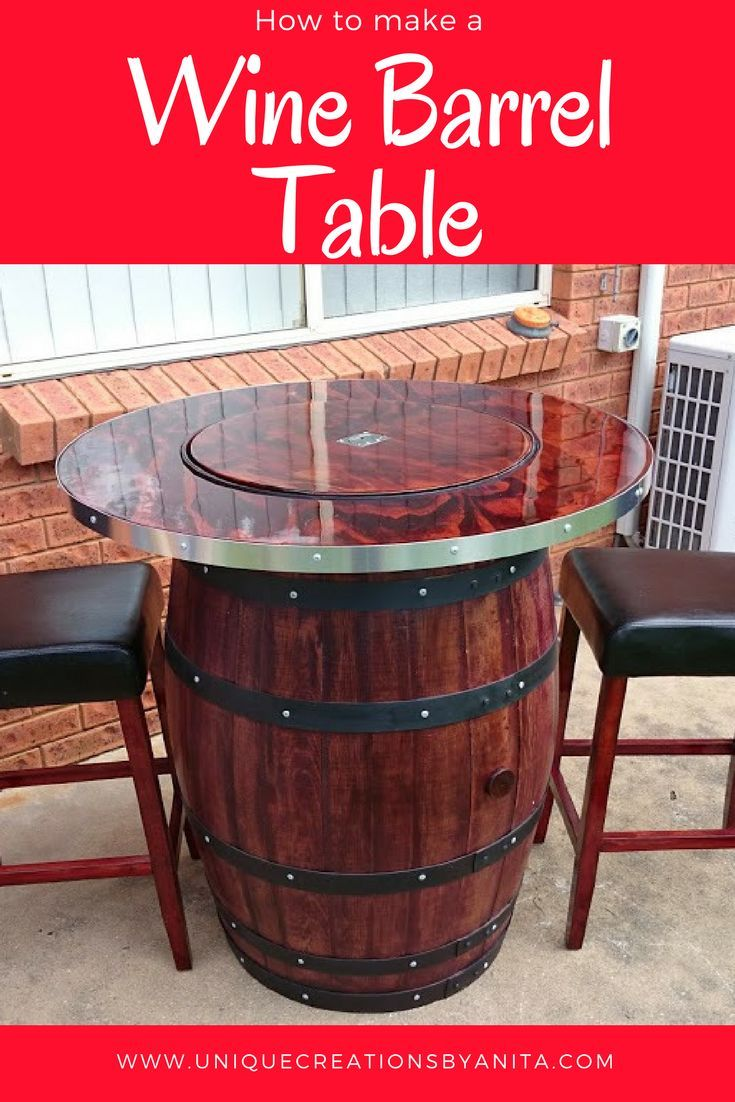 How To Make A Wine Barrel Table With A Built In Wine Bucket Wine Barrel Table Barrel Table Wine Barrel