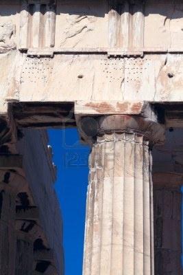 Dorian columna del Partenón, la Acrópolis, Atenas, Grecia
