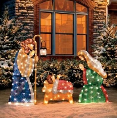 Lovely 3 PC SET Outdoor Lighted HOLY FAMILY NATIVITY SCENE Christmas Yard Art Decor