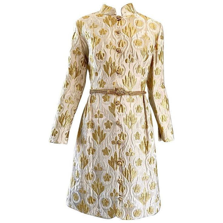 Victor Costa Romantica 1960s Gold   Ivory Silk Brocade Vintage 60s Belted Dress | From a collection of rare vintage cocktail-dresses at https://www.1stdibs.com/fashion/clothing/evening-dresses/cocktail-dresses/