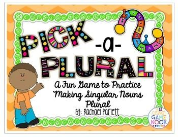 "Do your students need practice changing singular nouns into plural nouns?  This fun board game will have them learning the rules in no time.  This game helps students to learn rules to changing singular nouns into plural using the ""add s,""  ""add es,""  ""change y to i and add es,""  and ""change f to v and add es"" rules. $$"