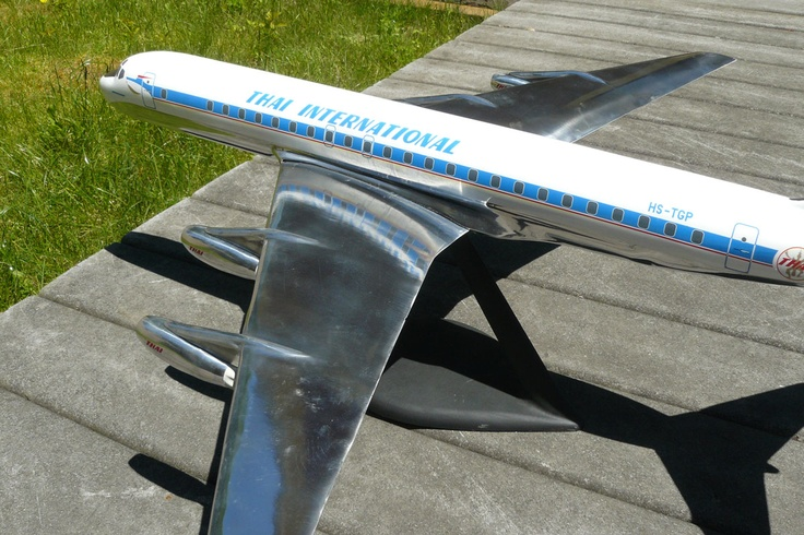 "We recently made this 1/50 metal DC-8 model for a customer. It represents Thai  International DC-8-33 HS-TGP. The model measures 36"" long and is made of cast aluminum."
