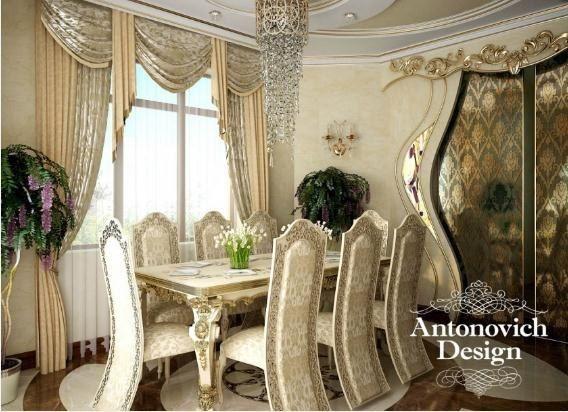 Светлая столовая с золотистыми шторами, оригинальною дверью, стульями королевского вида - арт-деко наполняет светом и радостью.