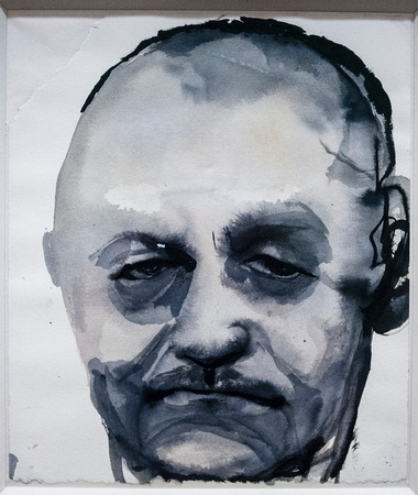 Male Portrait, Watercolor, by Marlene Dumas.