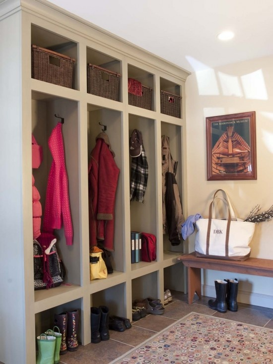 Mudroom cubby arrangement, but extend bottom of middle cubby to make a bench