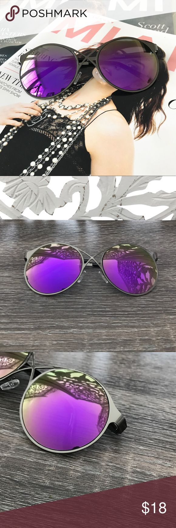 PURPLE MIRROR LENS SUNGLASSES Round Lens Front cross detail  Purple Mirror Lens Gunmetal grey frame  PRICE FIRM Style Link Miami Accessories Sunglasses