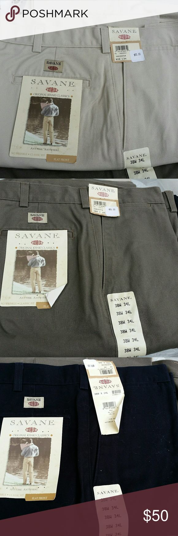 SAVANE CLASSIC FIT FLAT FRONT MEN'S TROUSERS Set of three brand new classic khaki's in Latte a dark khaki, Ink a black, and Prairie a tan all in size waist 38 and length 34 SAVANE  Pants Chinos & Khakis