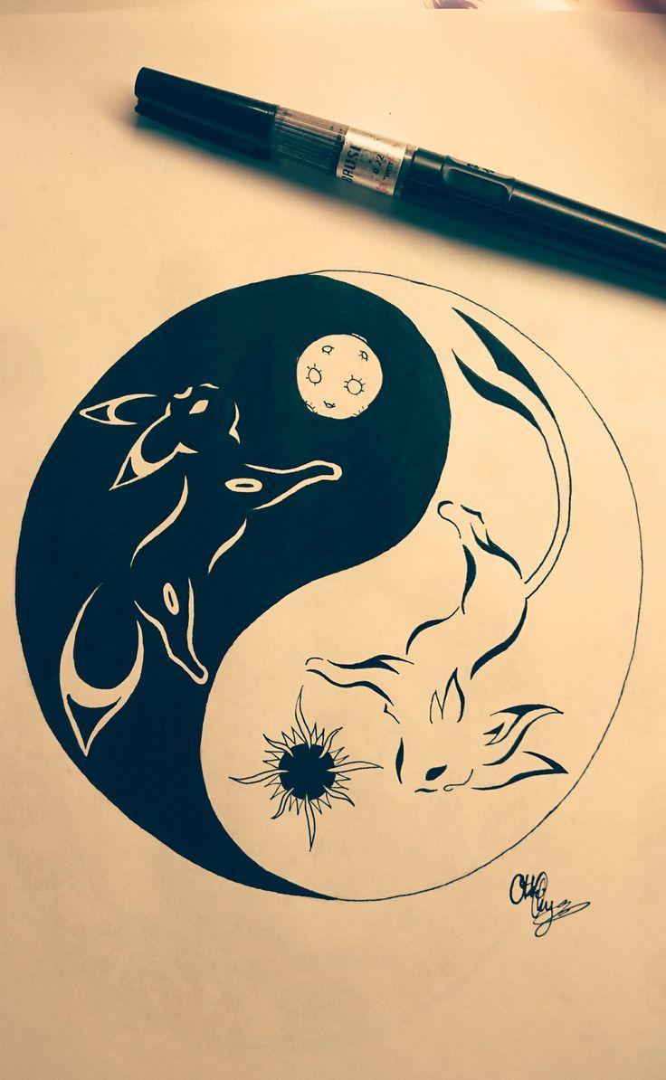 Yin-Yang Umbreon and Espeon tribal tattoo by Otakuchips on DeviantArt