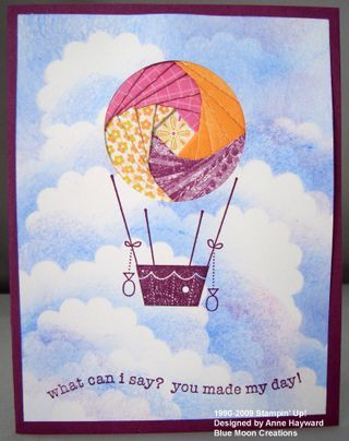 handmade greeting card ... iris folded hot air balloon ... fun clouds form sky background ...