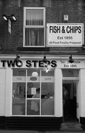 vintage british fish and chip shops two steps Hill st Sheffield during WW2 a big fish cake  was 3d