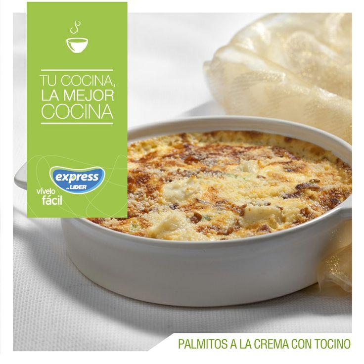 Palmitos a la crema con tocino. #Recetario #Receta #RecetarioExpress #Lider…