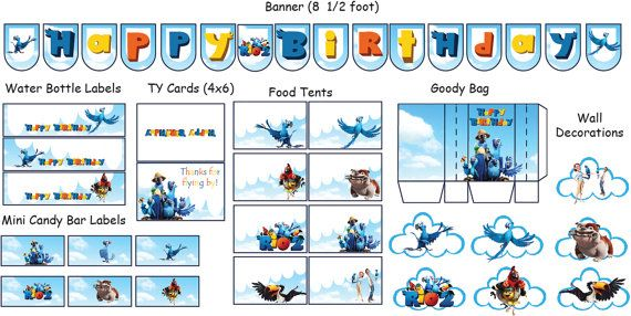 Instant Download Rio 2 Birthday Party Decorations von KiMFDesigns, $18.00