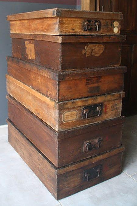 Antique haberdashery boxes