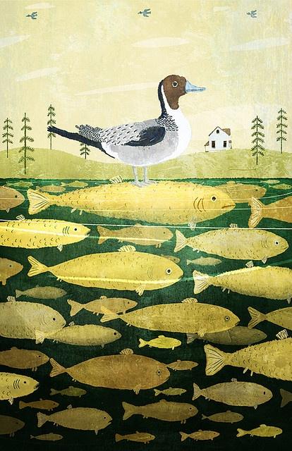 ducks & fish in a landscape - chuck groenink