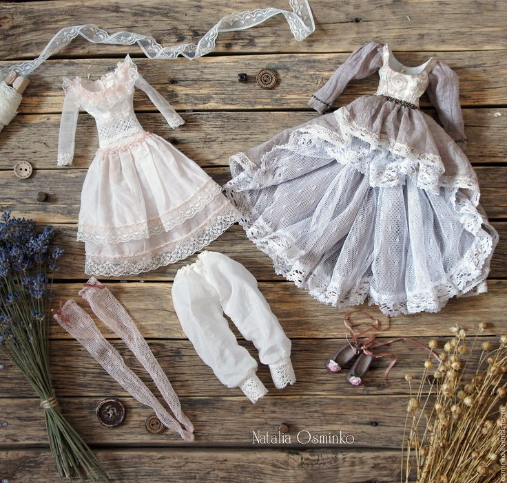 Купить Комплект одежды для текстильной куклы Анелия - серый, белый, одежда для кукол, одежда для куклы
