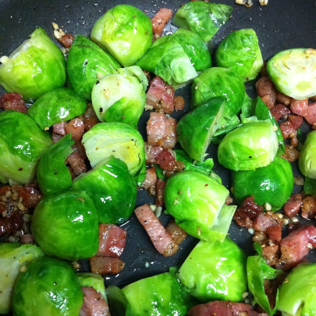 ... brussel sprouts tossed with sautéed garlic and pancetta....YUM