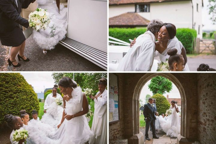 Bride arrives for All Saints church wedding ceremony