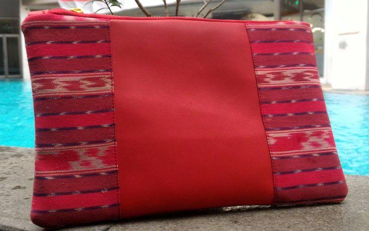Charming Red Ikat Tenun Clutch Bag by DeNesia - LC4