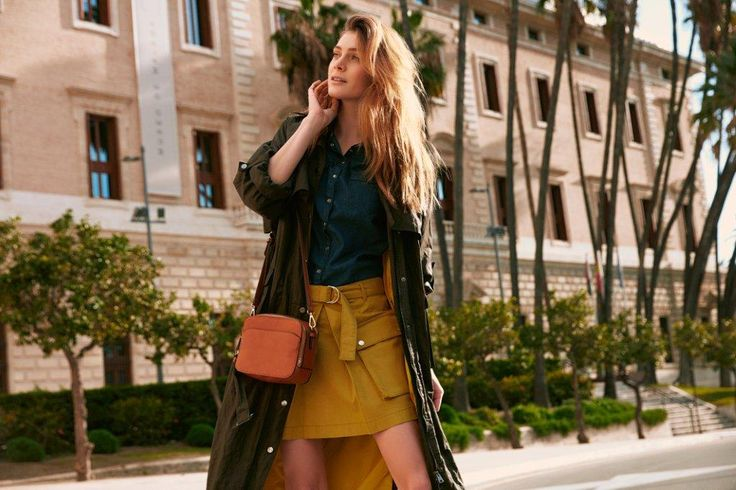Kampania TOP SECRET wiosna 2017 mini skirt, khaki płaszcz, khaki coat, spring 2017 trends
